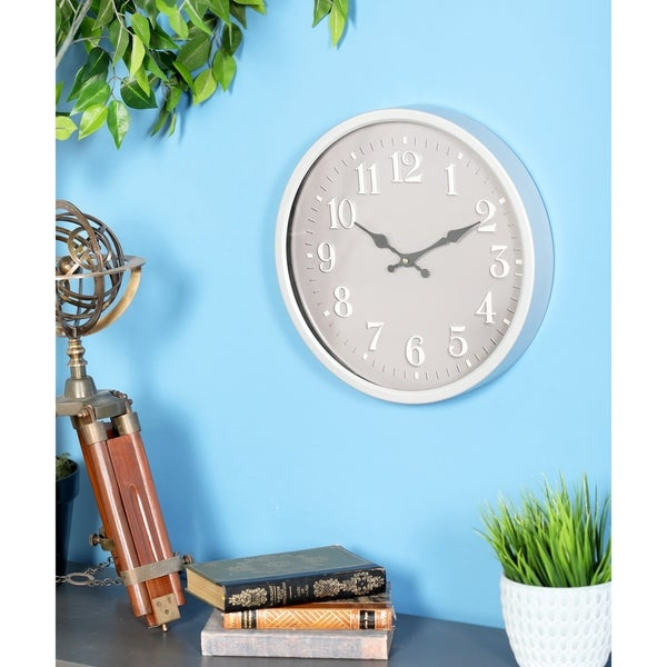 Copper Grove Artlish Modern Iron Round Grey Wall Clock