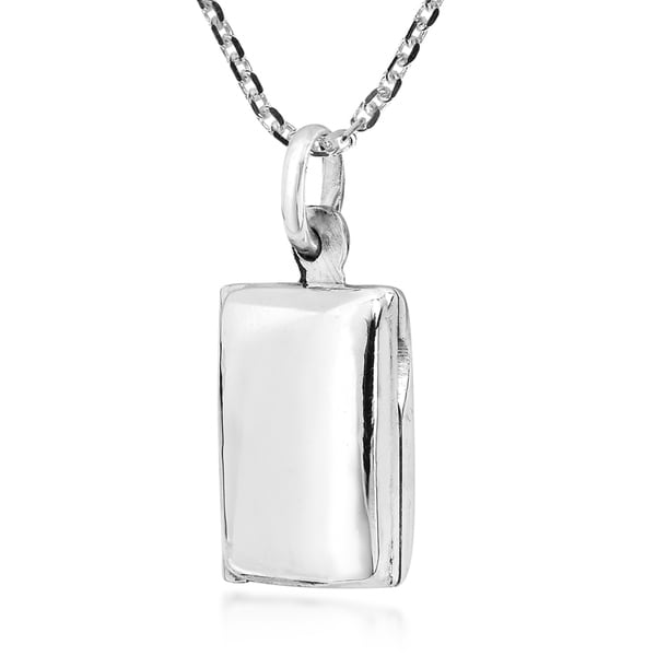 Cute /& Engravable Rectangular Locket Sterling Silver Necklace