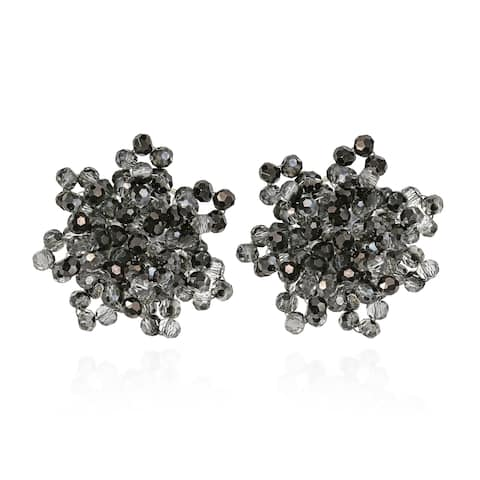 Handmade Glitzy Smoky Crystal Bead Cluster Earrings (Thailand) - Black