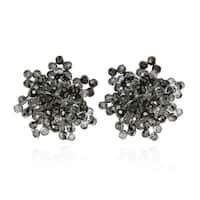 Handmade Glitzy Smoky Crystal Bead Cluster Earrings (Thailand) - Black