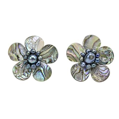 Handmade Magnificent Rainbow Abalone Shell Flower Earrings (Thailand)