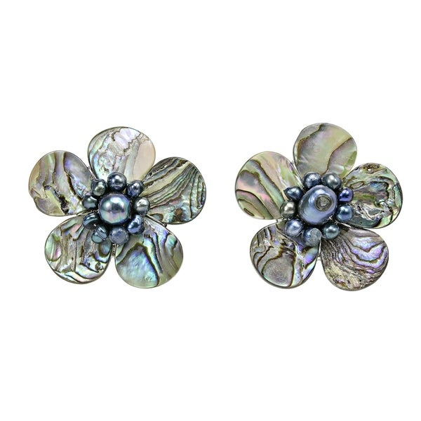 Handmade Magnificent Rainbow Abalone Shell Flower Earrings (Thailand). Opens flyout.