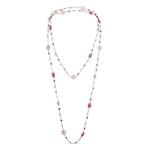 Handmade Elegantly Long Stones Statement Necklace (Thailand)