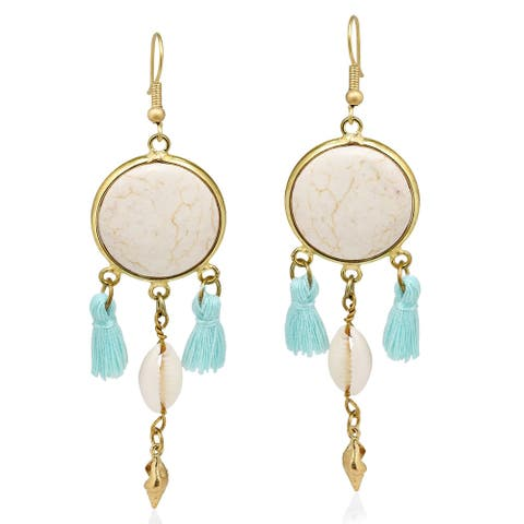 Handmade Beach Chic Stone Cowrie Shell Tassels Brass Dangle Earrings (Thailand) - White-Blue