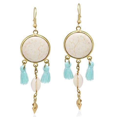 Handmade Beach Chic Stone Cowrie Shell Tassels Brass Dangle Earrings (Thailand) - White-Blue