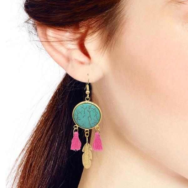 Handmade Stylish Boho Tassels Brass Feather Dangle Earrings