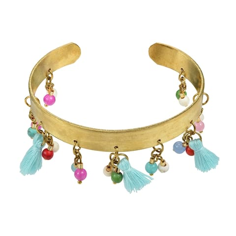 Handmade Trendy Tassels Mix Stone Beads Brass Bangle Bracelet Cuff (Thailand) - MultiColor