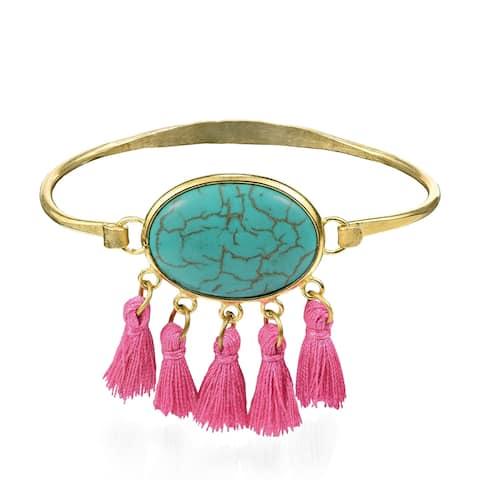 Handmade Chic Boho Oval Turquoise Tassels Brass Bracelet (Thailand) - turquoise-pink