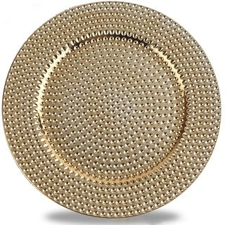Hammer Pattern Round Plastic Charger Plate Electroplating Finish, Gold