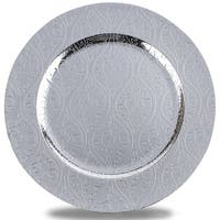 Moslem Pattern Round Plastic Charger Plate,Silver,Set of 8