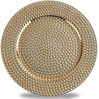Hammer Pattern Round Plastic Charger Plate , Gold, Set of 8