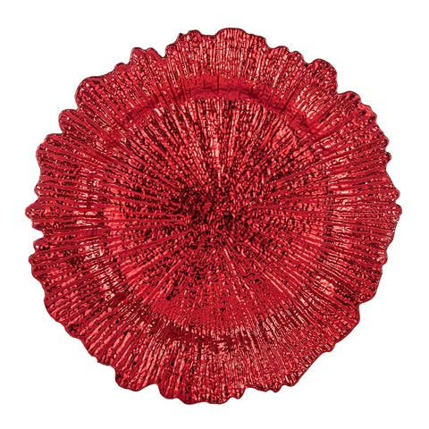 Reef Pattern Round Plastic Charger Plate , Red