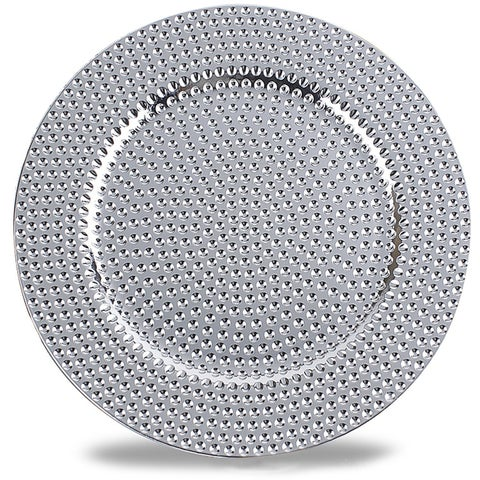 Hammer Pattern Round Plastic Charger Plate,Silver,Set of 12