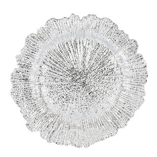 Reef Pattern Round Plastic Charger Plate , Silver