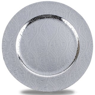 Moslem Pattern Round Plastic Charger Plate ,Silver,Set of 6