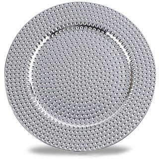 Hammer Pattern Round Plastic Charger Plate ,Silver,Set of 4