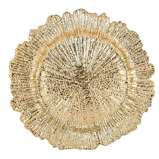 Reef Pattern Round Plastic Charger Plate , Gold