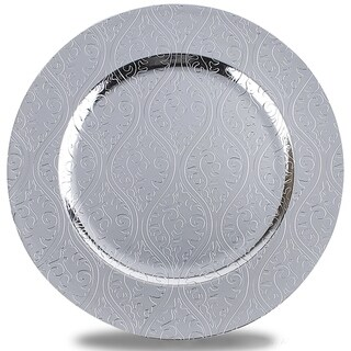 Moslem Pattern Round Plastic Charger Plate, Silver, Set of 12