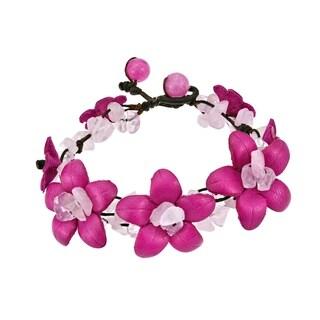 Handmade Fairy Floral Genuine Leather Flowers Mixed Stones Bracelet (Thailand)