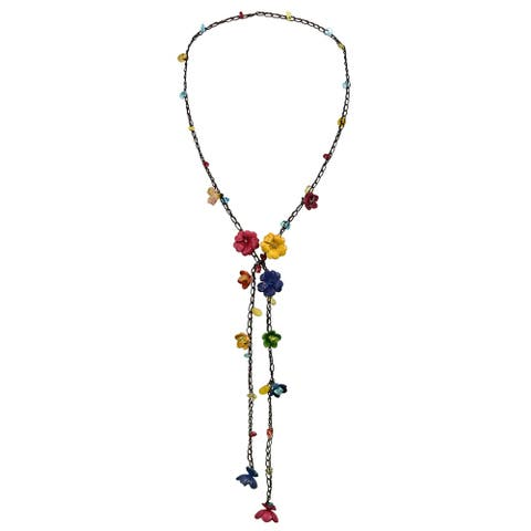 Handmade Chic Daisy Floral Mix Stone Genuine Leather Lariat Wrap Necklace (Thailand)
