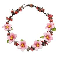 Handmade Neutral Floral Tigers Eye Stone Genuine Leather Necklace (Thailand)