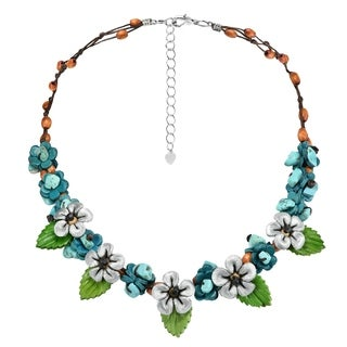 Handmade Genuine Leather Silver Daisies Floral Turquoise Link Necklace Thailand Blue Grey