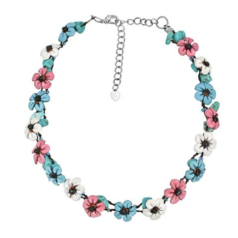Handmade Pastel Colored Flower Garden Genuine Leather Choker Necklace (Thailand) - MultiColor