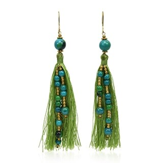 Handmade Fashionable Chrysocolla Stone & Brass Bead Tassel Dangle Earrings (Thailand) - Green