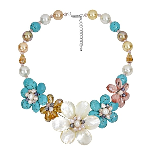 Handmade Summer Floral Bouquet Shell, Crystal Bead & Turquoise Statement Necklace (Thailand) - MultiColor