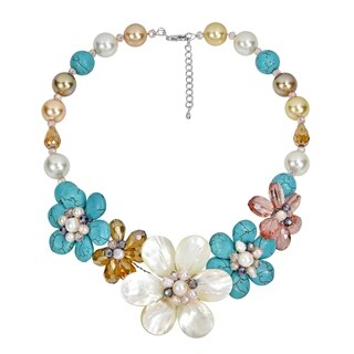Handmade Summer Twilight Turquoise with Shells Flower Cluster Statement Necklace (Thailand) - MultiColor