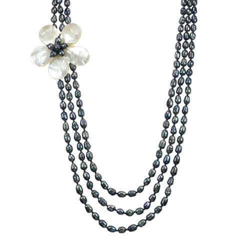 Handmade Glamarous Floral Shell on Triple Strand Pearls Long Layered Necklace (Thailand)