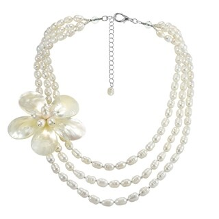 Handmade Glamarous Floral Shell on Triple Strand Pearls Layered Necklace (Thailand)