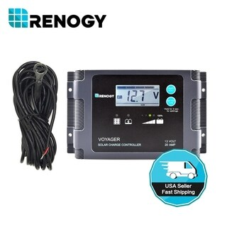 Renogy Voyager - 20A Negative PWM Waterproof Charge Controller w/LCD Display and LED Bar + Temperature Sensor