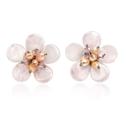 Handmade Elegant Tropical Flower Pink Quartz Pearls Earrings (Thailand)