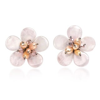 Link to Handmade Elegant Tropical Flower Pink Quartz Pearls Earrings  (Thailand) Similar Items in Earrings