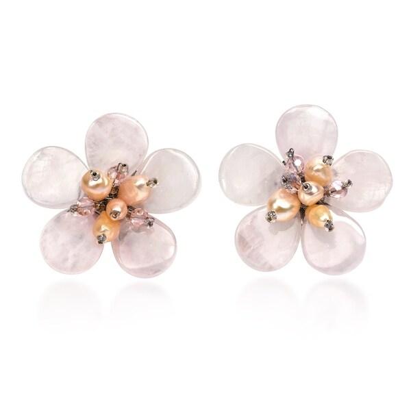 Handmade Elegant Tropical Flower Pink Quartz Pearls Earrings (Thailand). Opens flyout.