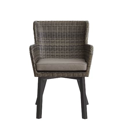 Ink and Ivy Pacifica Dark Grey Outdoor Arm Chair (set of 2)