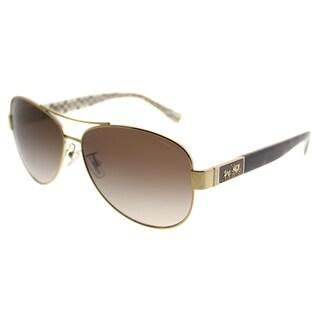 Coach Aviator HC 7047 L103 Christina 920213 Women Gold Dark Tortoise Sand Sig C Frame Brown Gradient Lens Sunglasses