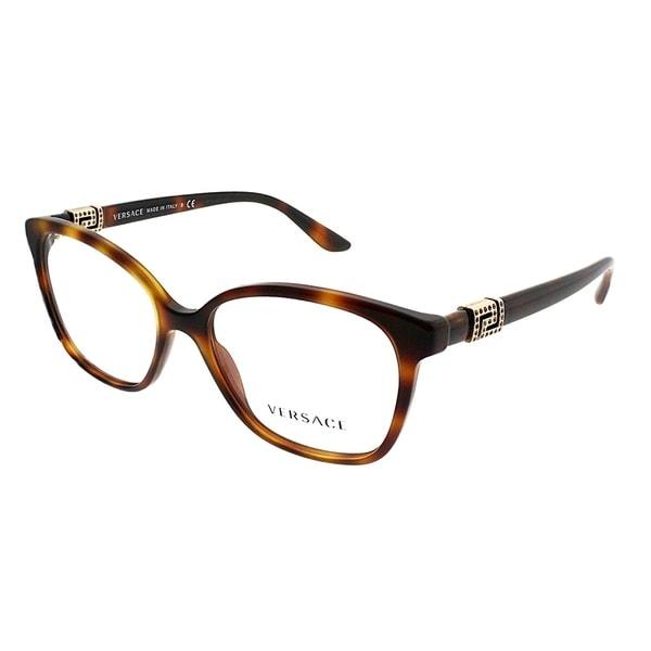 Versace Square Ve 3235 B 5217 Women Havana Frame Eyeglasses by Versace