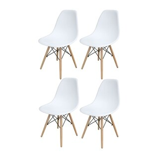 Offex Tools Office Offex White Wooden Leg Accent Chairs - 4 Piece Set