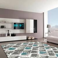 "LR Home Grace Diamond Gray Indoor Area Rug ( 3'7"" x 5'6"" ) - 3'7 x 5'6"