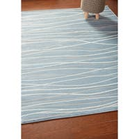 LR Home Grace Waves Blue Rectangle Indoor Area Rug ( 9' x 12' ) - 9' x 12'