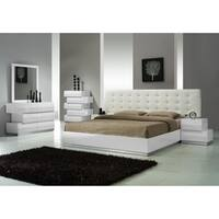 Milan White King-size Platform Bed