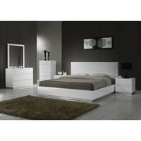 Naples K White Solid Wood Platform Bed
