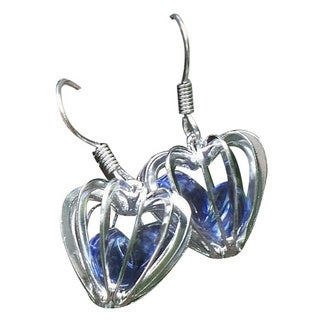 Handmade Recycled Early 1900's Purple Medicine Bottle Heart Cage Earrings (United States)