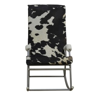 Cowhide Rocking Chair HOLDEN in Black and White