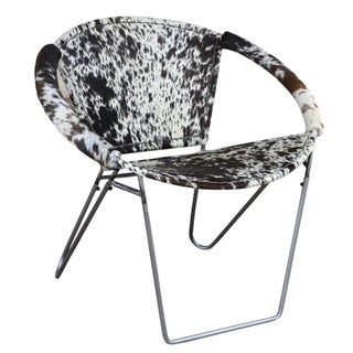 Modern Cowhide Armchair ULLA in Black & White with Silvered Base