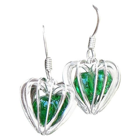 Handmade Recycled Vintage 1960's Emerald Green Beer Bottle Heart Cage Earrings