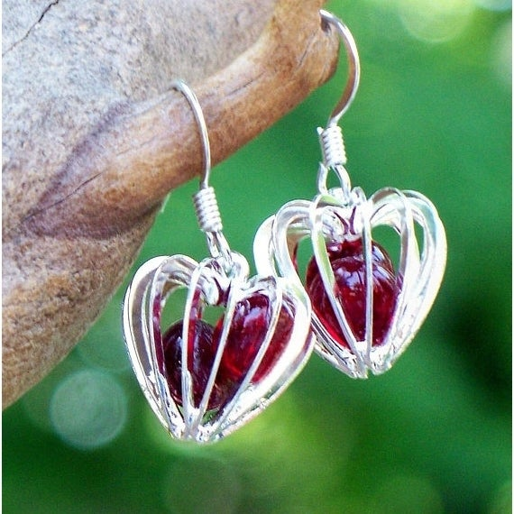 Handmade Recycled Vintage World War Ii Era Ruby Beer Bottle Heart Cage Earring United States