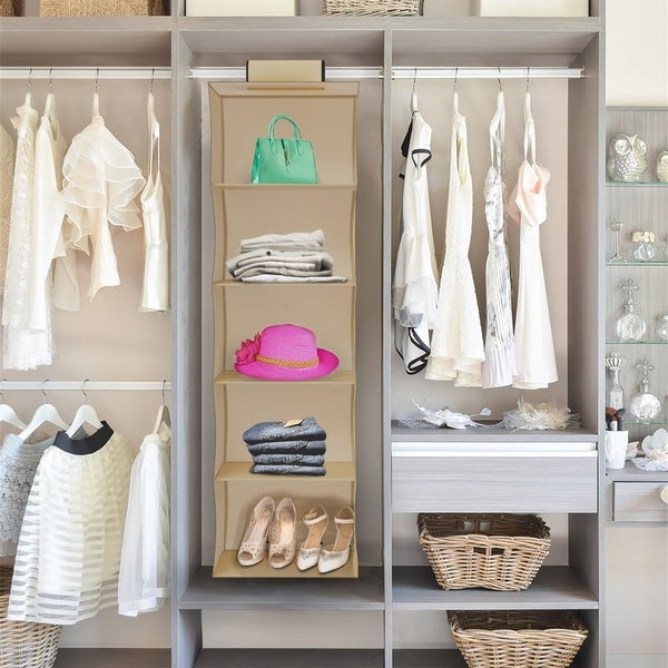 Shop hanging closet organizer 5 shelf storage space - Storage for small bedroom without closet ...